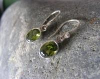 Oval peridot (green) hook earrings